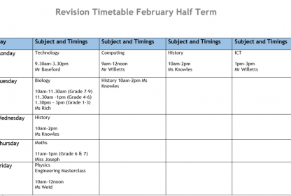Year 11 February Half Term Revision Sessions