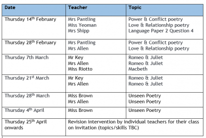 English Year 11 Revision Sessions