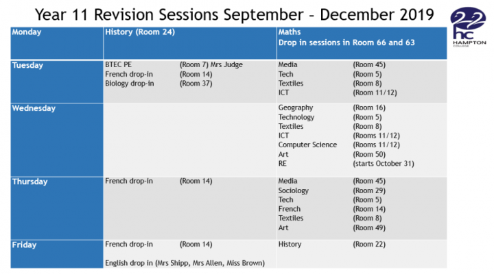 Year 11 Revision Timetable - September - December 2019