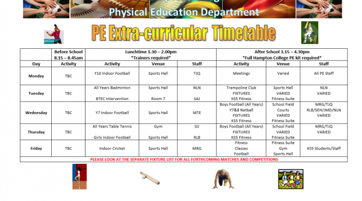 PE Extra-Curricular Timetable
